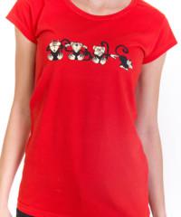 Opice červené dámské tričko