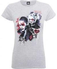 Filmové tričko Suicide Squad  Dámské – Harley's Puddin (světle šedá)