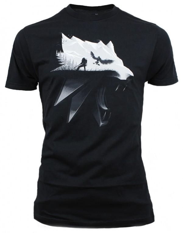 Herní tričko The Witcher 3  – Wolf Silhouette