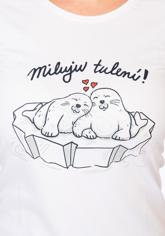 Miluju tulení bílé dámské tričko