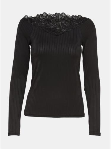 Černé žebrované tričko s krajkovými detaily Jacqueline de Yong Rine