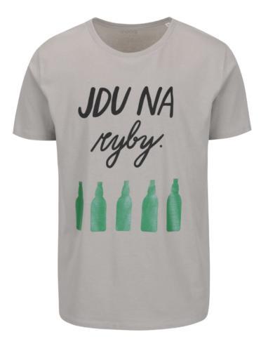 Šedé pánské tričko s krátkým rukávem ZOOT Originál Jdu na ryby   od ... bb2a12f898