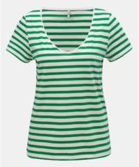 Bílo-zelené pruhované basic tričko ONLY Brave