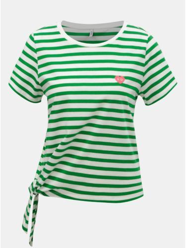 Bílo-zelené pruhované tričko s uzlem ONLY Brave