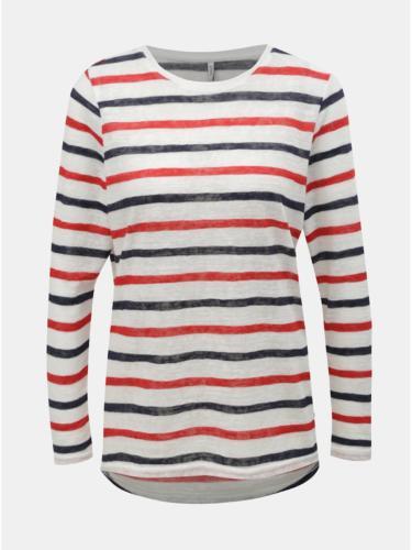 Červeno-bílé pruhované tričko ONLY Dina