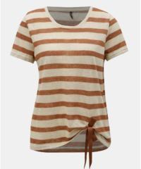 Hnědo-béžové pruhované tričko s mašlí ONLY Rill