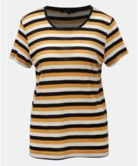 Krémovo-oranžové pruhované basic tričko s krátkým rukávem VERO MODA Vita