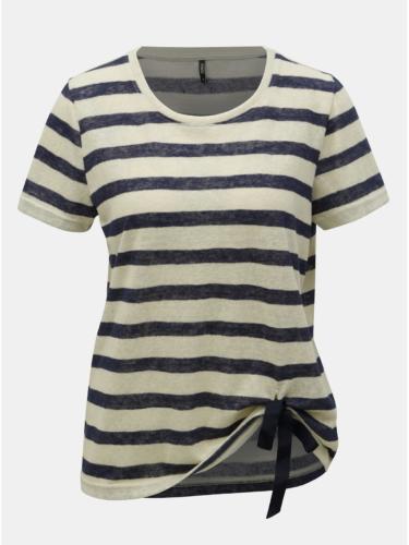 Modro-béžové pruhované tričko s mašlí ONLY Rill