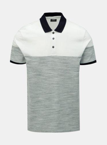 Bílo-šedé žíhané polo tričko Burton Menswear London