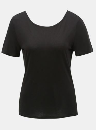 Černé tričko s krajkou na zádech ONLY Flovely