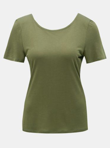 Khaki tričko s krajkou na zádech ONLY Flovely
