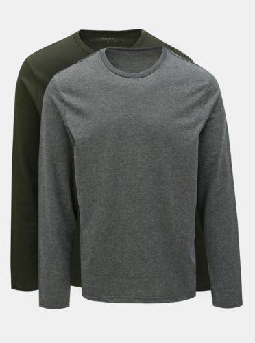 Sada dvou basic regular fit triček v šedé a tmavě zelené barvě Burton Menswear London