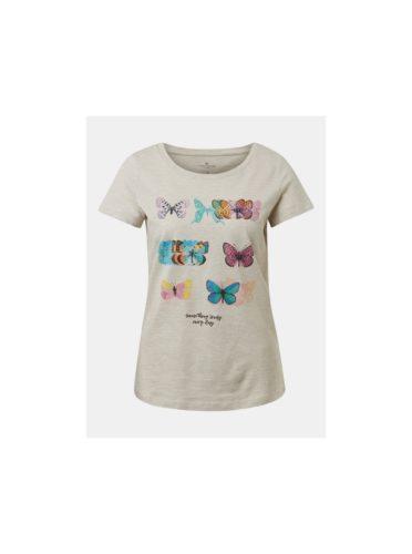 Béžové dámské pruhované tričko s potiskem Tom Tailor
