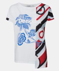 Bílé asymetrické tričko s potiskem Desigual Brandall