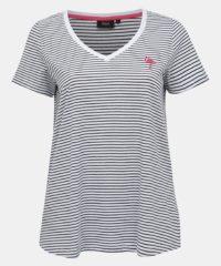 Bílé pruhované tričko s výšivkou Zizzi Ichiro