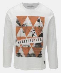 Bílé tričko s dlouhým rukávem a s potiskem Shine Original Breaker