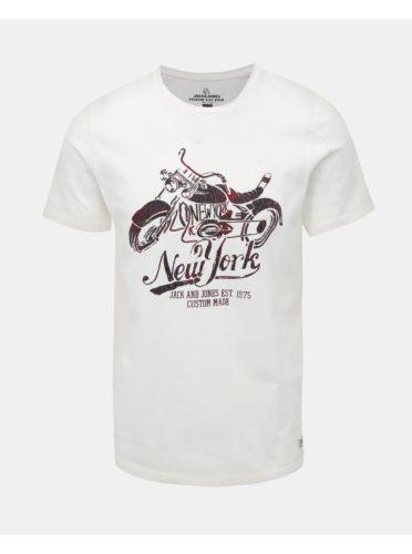 Bílé tričko s potiskem Jack & Jones Biker