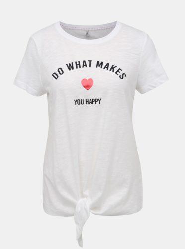 Bílé tričko s potiskem ONLY Bine