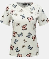 Bílé vzorované tričko s výšivkou Dorothy Perkins