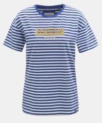 Bílo-modré dámské pruhované volné tričko Superdry Minimal Logo