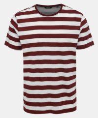 Bílo-vínové pruhované basic tričko ONLY & SONS Cole