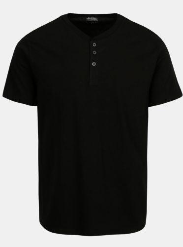 Černé basic tričko s knoflíky Burton Menswear London