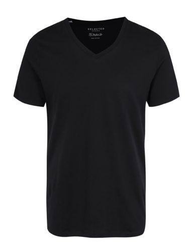 Černé basic tričko s véčkovým výstřihem Selected Homme