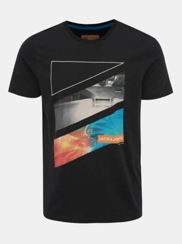 Černé tričko s potiskem Jack & Jones Autumn