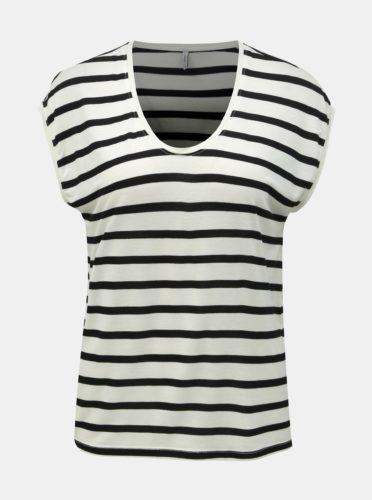 Černo-krémové pruhované basic tričko ONLY Wilma