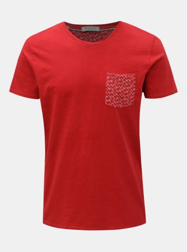 Červené tričko s náprsní kapsou Selected Homme Kristian