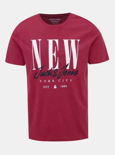 Červené tričko s potiskem Jack & Jones City Sign