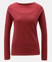 Červené tričko se vzorovanou částí v dekoltu Tranquillo Cleo
