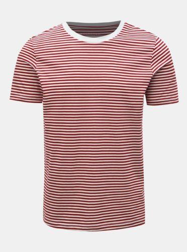 Červeno-bílé pruhované basic tričko Selected Homme Perfect