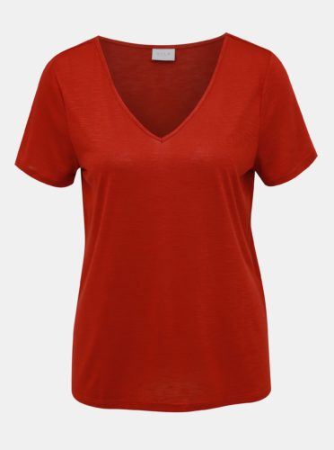 Cihlové žíhané tričko VILA Noel