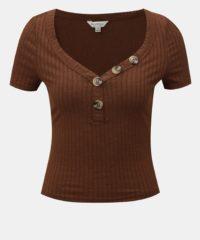 Hnědé krátké tričko s knoflíky Miss Selfridge