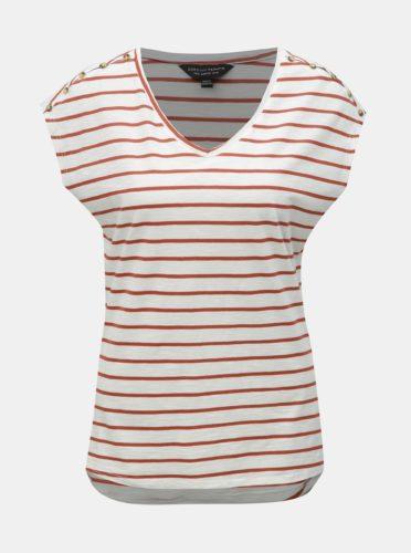 Hnědo-bílé pruhované basic tričko Dorothy Perkins