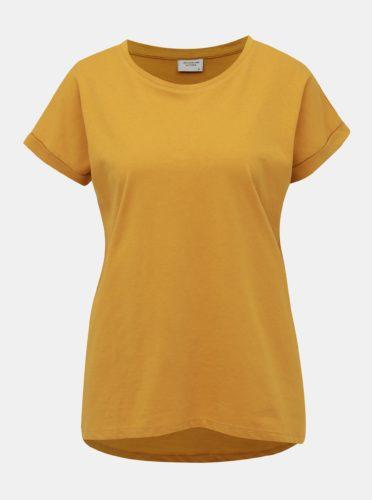 Hořčicové basic tričko Jacqueline de Yong Louisa