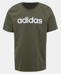 Khaki pánské tričko s potiskem adidas CORE Lin