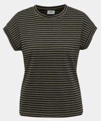 Khaki pruhované basic tričko Jacqueline de Yong Ditte