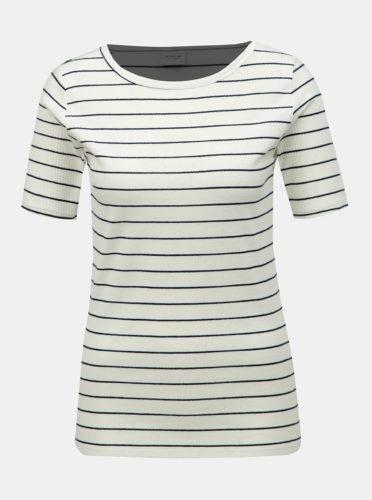 Krémové pruhované basic tričko Jacqueline de Yong Nevada