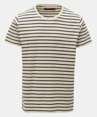 Krémové pruhované basic tričko SUIT Beagle
