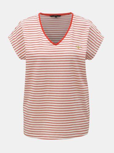 Krémové pruhované tričko s výšivkou VERO MODA Clia