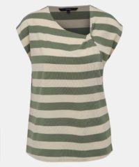 Krémovo-zelené pruhované tričko VERO MODA Ashlee
