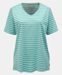 Mentolové pruhované basic tričko s rozparky Ulla Popken
