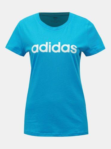 Modré dámské slim fit tričko s potiskem adidas CORE