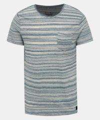 Modro-krémové pruhované tričko Blend