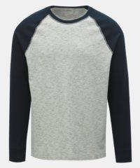Modro-šedé žíhané basic tričko Burton Menswear London