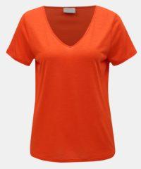 Oranžové basic tričko VILA Noel