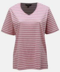 Růžové pruhované basic tričko s rozparky Ulla Popken