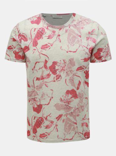 Růžovo-šedé květované tričko Selected Homme Matthew
